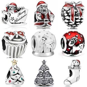 Adornos festivos de Navidad, árbol centelleante, trineo de Santa, globo de nieve, alce, pulsera Pandora, dije de Plata de Ley 925