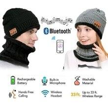 Men Women Bluetooth Hat Wireless Music Headphone Stereo Headset Cap Winter Warm Neck Warmer Kit Set for Outdoor Sport