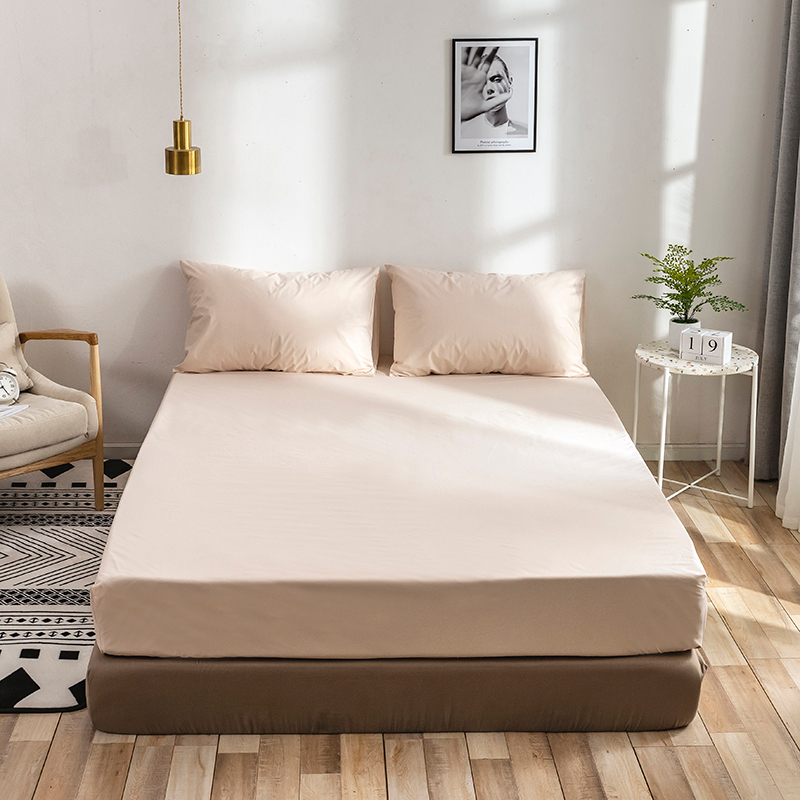 Anti-slip Bed Sheet Polyester Stretch Bed Fitted Sheet Solid Color Anti-dirty Bed Sheet Bedspread Home Texties Full King Queen image