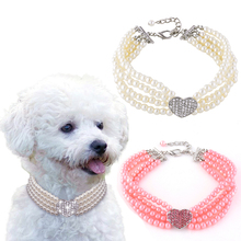 Puppy Dog Animals Four Rows Pearls Necklace Collar Shiny Rhinestone Heart Shape Pendant Cat Jewellery Pet Supplies D40