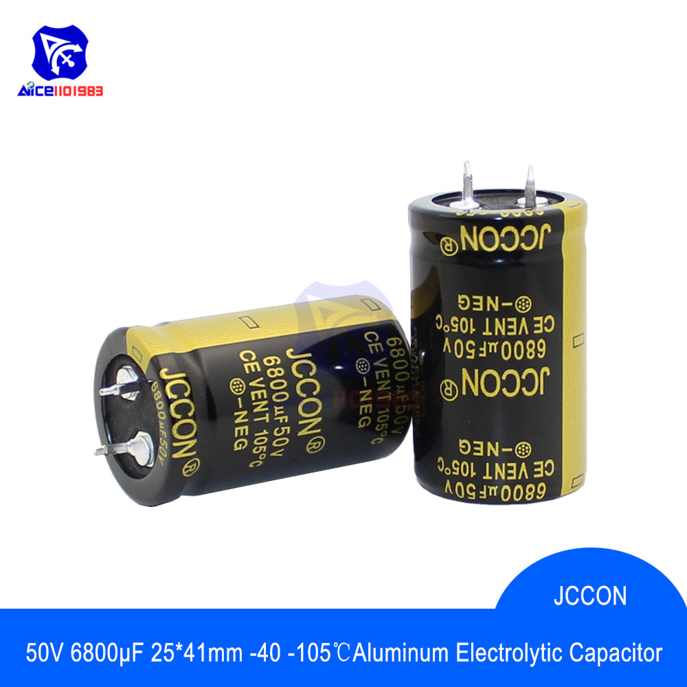 diymore Aluminum Electrolytic Capacitor 25x40mm 50V 6800uF Capacitance High Frequency Low ESR 50V6800μF 25*40mm Capacitor image