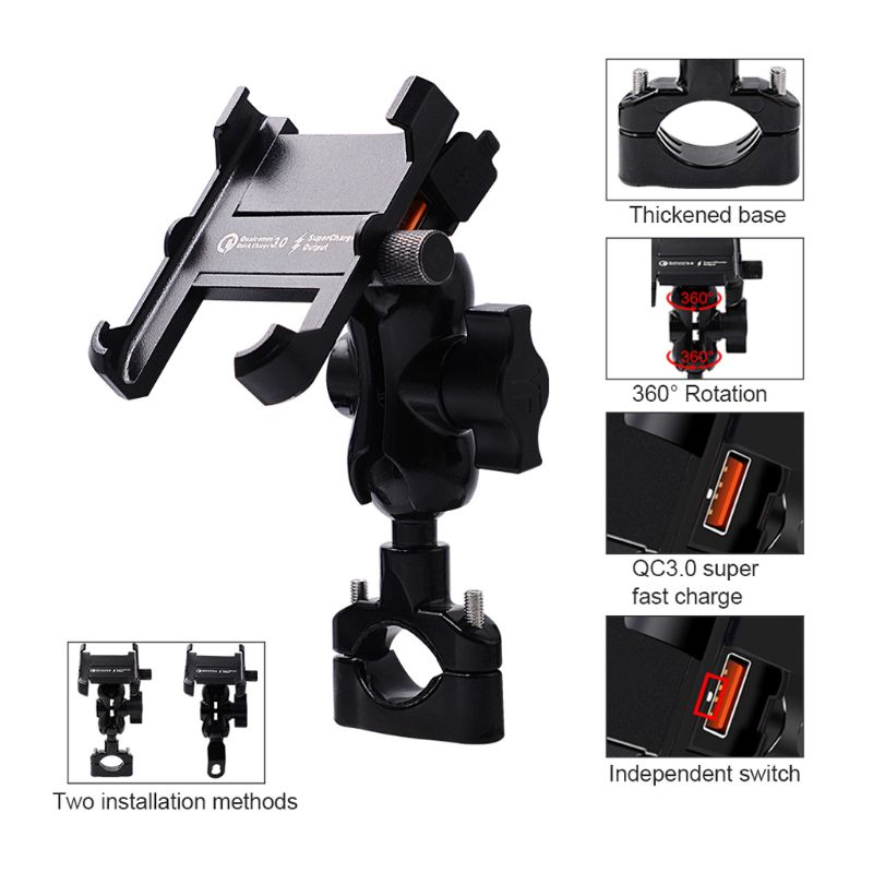 Image 4 - Waterproof Metal Motorcycle Smart Phone Mount with QC 3.0 USB Quick Charger Motorbike Mirror Handlebar Stand Holder for SamsungPhone Holders & Stands   -