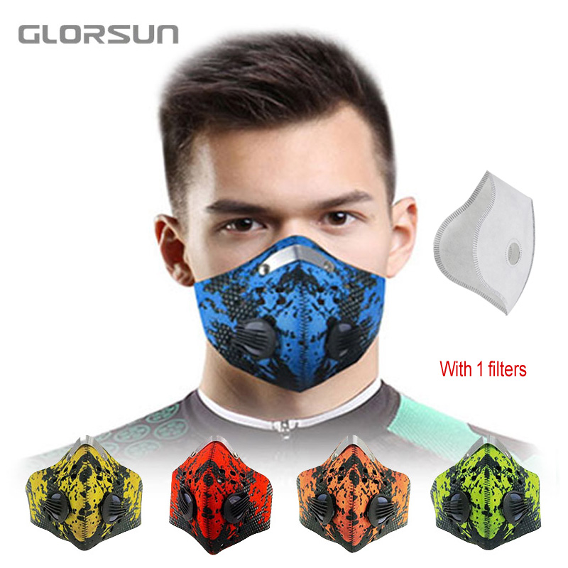 GLORSUN Mouth Face Mask Dustproof Anti Pollution Smog Masks Custom Neoprene  Filter Dust Pm2.5 Bike Cycling Half Face Mask