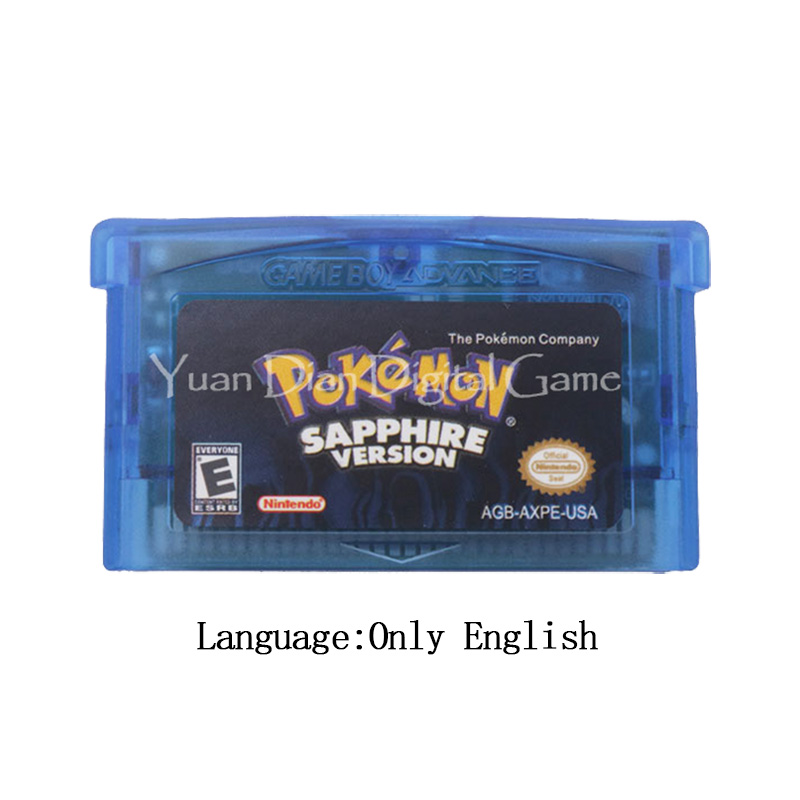 For Nintendo GBA Video Game Cartridge Console Card Poke Series Sapphire English/Italian/German/French/Spanish Language