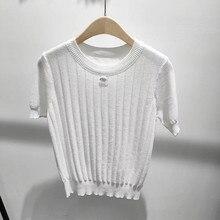 2021 lato nowy kobiety luksusowy wzór w napisy T-shirt kobieta haft moda Casual wysoka marka jakości topy damskie wełniane koszulki