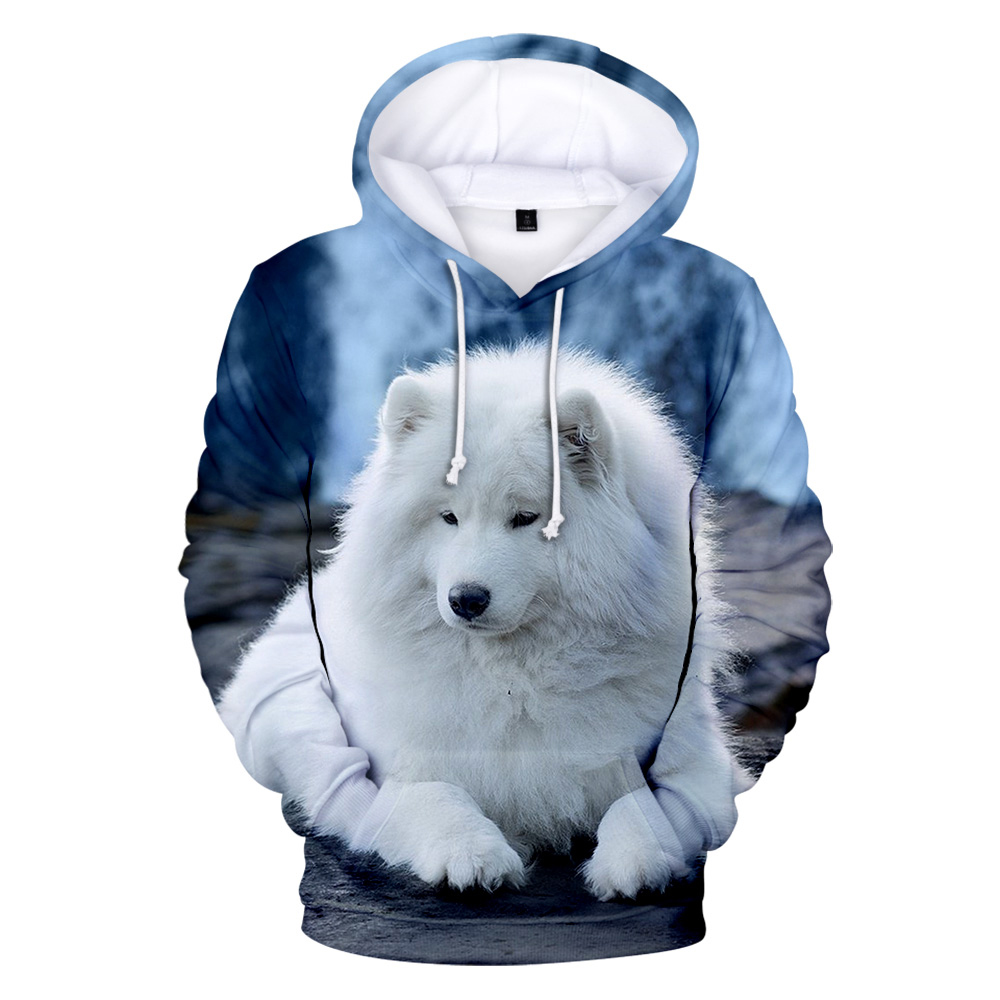Personality Adult Children Size Samoyed Wolf Hoodies Boy 3D Print Sweatshirts Men Harajuku Autumn Winter Pullovers Wolf Hoodie