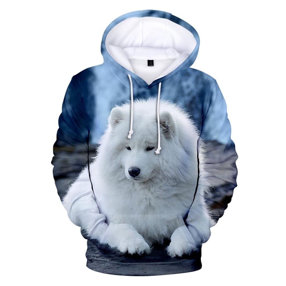 Personality Adult Children Size Samoyed Wolf Hoodies Boy 3D Print Sweatshirts Men Harajuku Autumn Winter Pullovers Wolf Hoodie
