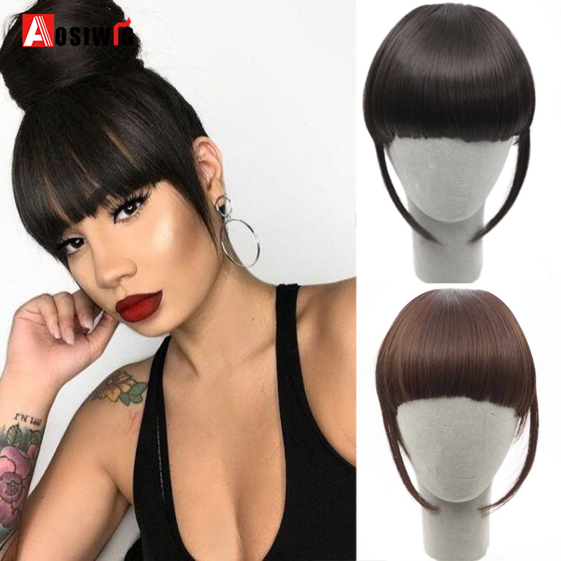 AOSI WIG Bangs Clip In Hair Extensions Front Neat Bang Fringe One Piece Striaght Hair With High Temperature Synthetic Fiber Hair