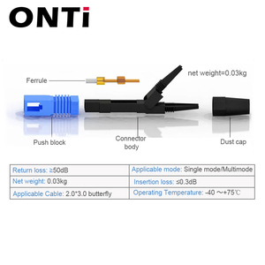 Image 4 - ONTi 400pcs Embedded SC UPC Fiber Optic Fast Connector FTTH Single Mode Fiber Optic SC Quick Connector SC Adapter Field Assembly