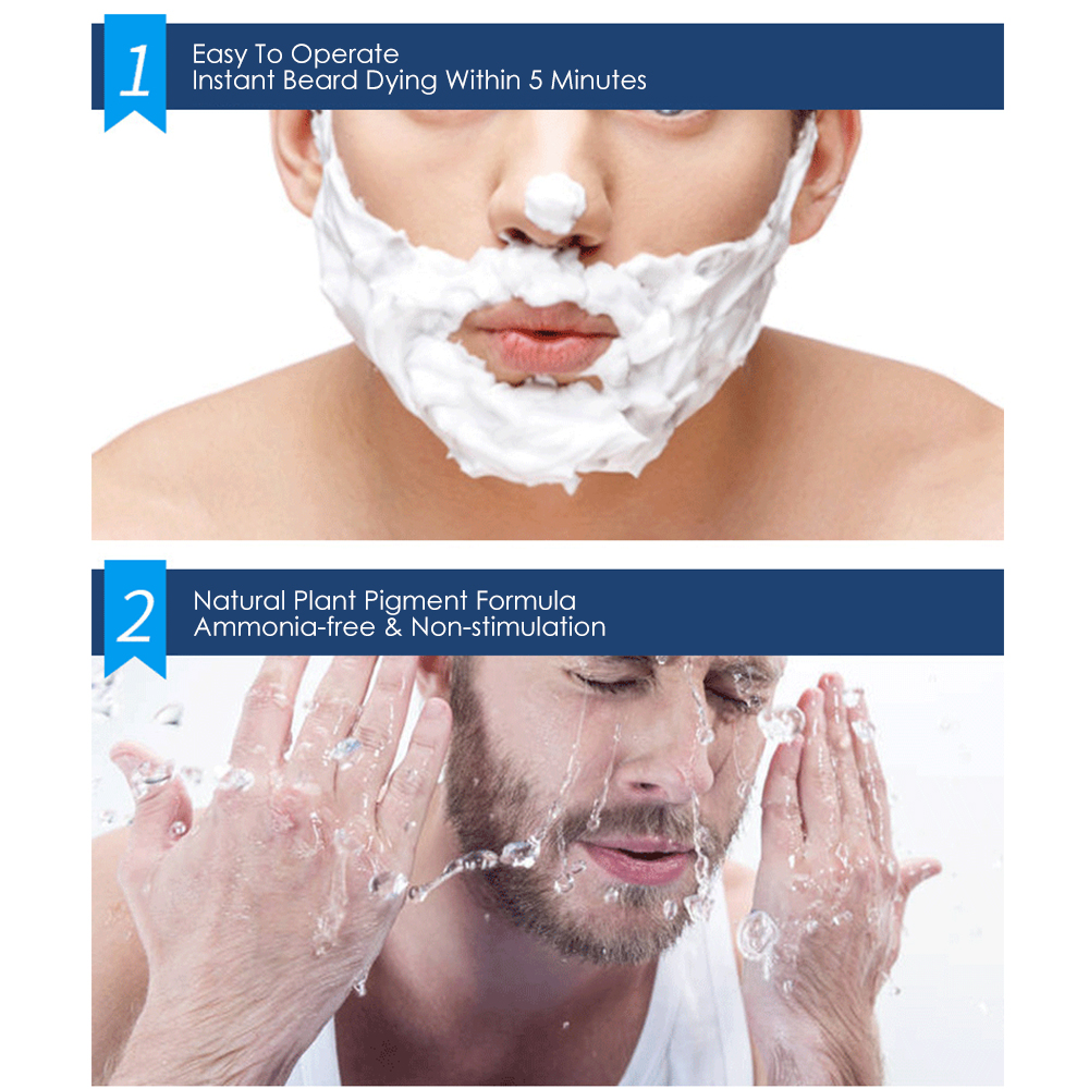 natural long lasting 200ml permanent beard dye shampoo for men beard dying removal white grey beard hair men beard dye shampoo 5