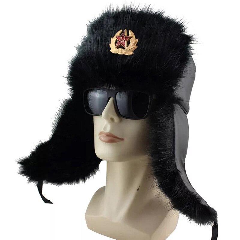 Bomber Hats Badge Aviator-Cap Pilot Soviet Army Russia-Ushanka Earflap Faux-Rabbit-Fur