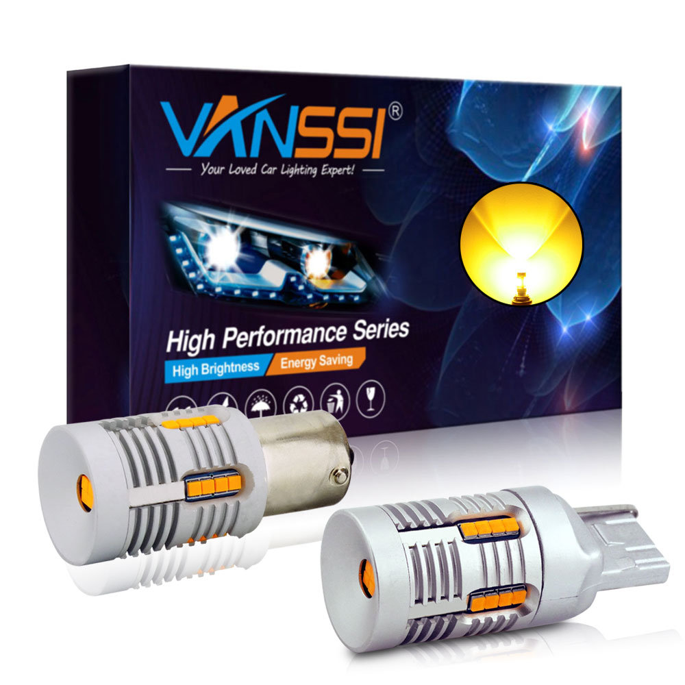VANSSI 7507 Bau15s PY21W LED Canbus errore indicatore di direzione gratuito T20 7440 7440NA WY21W LED Canbus No Hyper Flash giallo ambra