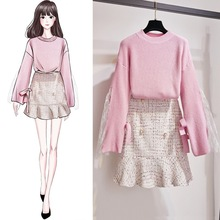 Women 2 Piece Skirt Set Lace Patchwork Winter Sweater Tops And Outfits Korean Student Clothing