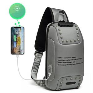 Image 3 - Brand Sling Waterproof Rivet Men Chest Bags Anti Theft Password Lock USB Charging Port Women Shoulder Bag Reflective