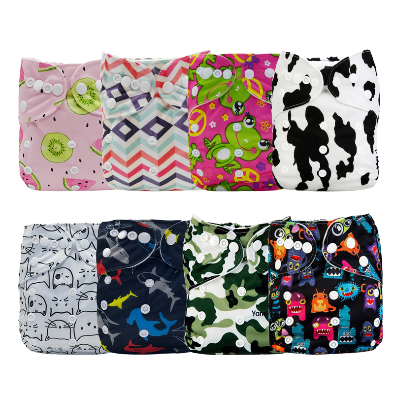 [Mumsbest] 8PCS/Pack Baby Printed Cloth Diaper Wholesale Price Reusable Pocket Breathable Nappy Cover Sent Random Color