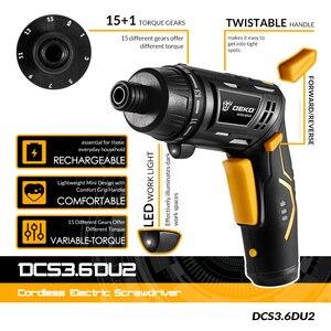Image 2 - DEKO DCS3.6DU2 Cordless Cacciavite Elettrico con Batteria Ricaricabile Twistable Maniglia FAI DA TE Per Uso Domestico Cacciavite con la Luce del LED