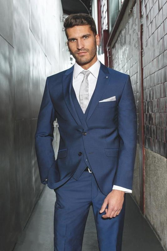 2019 Three Piece Navy Blue Evening Party Men Suits Peak Lapel Slim Fit Custom Made Wedding Tuxedos (Jacket + Pants + Vest+Tie)
