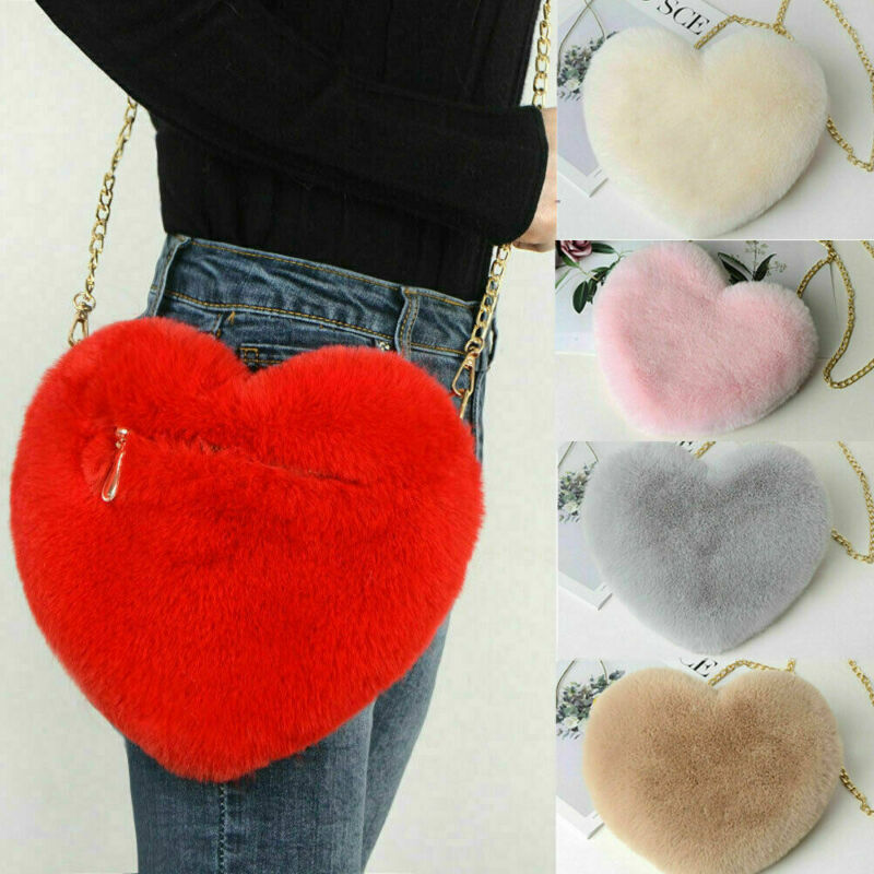 2020 Newest Fashion Women Heart-Shaped Bag Plush Love Shoulder Hairy Bag Valentine Day Gifts Plush Love Chain Bag