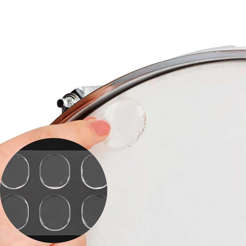 6 개/대 스네어 드럼 음소거 패드 드럼 댐퍼 젤 패드 스네어 톰 드럼 머플러 음소거 투명 타악기 액세서리 (Tran
