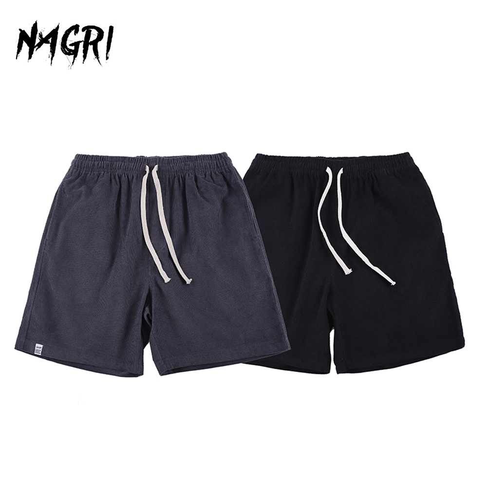 NAGRI Summer Solid Men's Shorts Retro Style Corduroy Casual Boardshorts Fashion Brand Shorts For Men