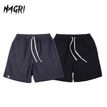 NAGRI Summer Solid Men's Shorts Retro Style Corduroy Casual