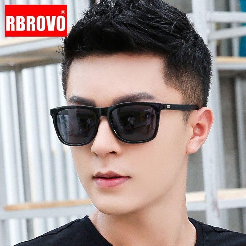 RBROVO 2020 Luxury Retro Sunglasses Men Vintage Sunglasses Men Mirror Square Glasses For Men Brand Designer Lunette Soleil Homme