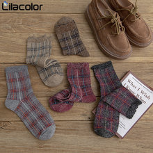 Vintage Plaid Women Socks Cotton Fashion Autumn Winter Soft Female