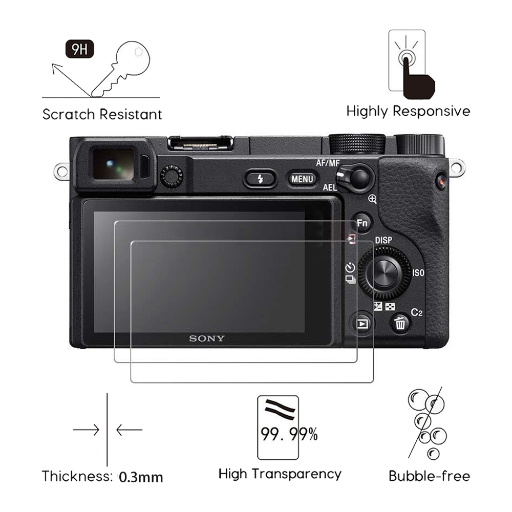 2Pcs Tempered Glass For <font><b>Sony</b></font> ILCE- A6000 A6100 A6300 <font><b>A6400</b></font> A6500 A6600 A5000 A3000 NEX-7 <font><b>Screen</b></font> <font><b>Protector</b></font> Protective Film Guard image