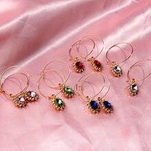 Cender 2020 Multicolor Oval Crystal Hoop Earrings Shiny Rhinestone Egg Shape Geometric Statement Fashion Jewelry Gift