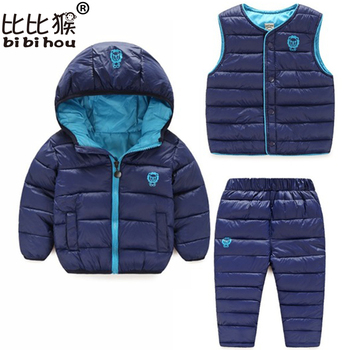 цена на Toddler Winter Baby Girls Boys Clothing Sets Warm Faux Down Jacket Clothes Sets Children Kids Snowsuit Coats Vest Pants Overalls