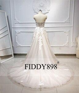 Image 2 - Женское свадебное платье без бретелек, длинное ТРАПЕЦИЕВИДНОЕ ПЛАТЬЕ из фатина с кристаллами и жемчужинами, модель 2020 в стиле бохо