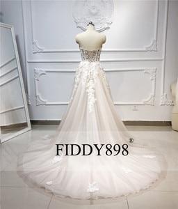 Image 2 - Boho robe de mariée longue sans bretelles Tulle a ligne cristal perles perlées dentelle robe de mariée plage robe de mariée Vestido de Novia 2020