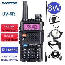 Портативная рация Baofeng UV 5R, приемопередатчик, двухдиапазонный УКВ, УВЧ, двухсторонний радиопередатчик, любительская радиостанция UV5R, 8 Вт, 10 ...