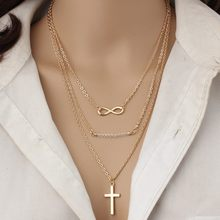 Hot models trendy big-name temperament multilayer metal cross down 8 clavicle chain rice beads wild necklace jewelry gift(China)