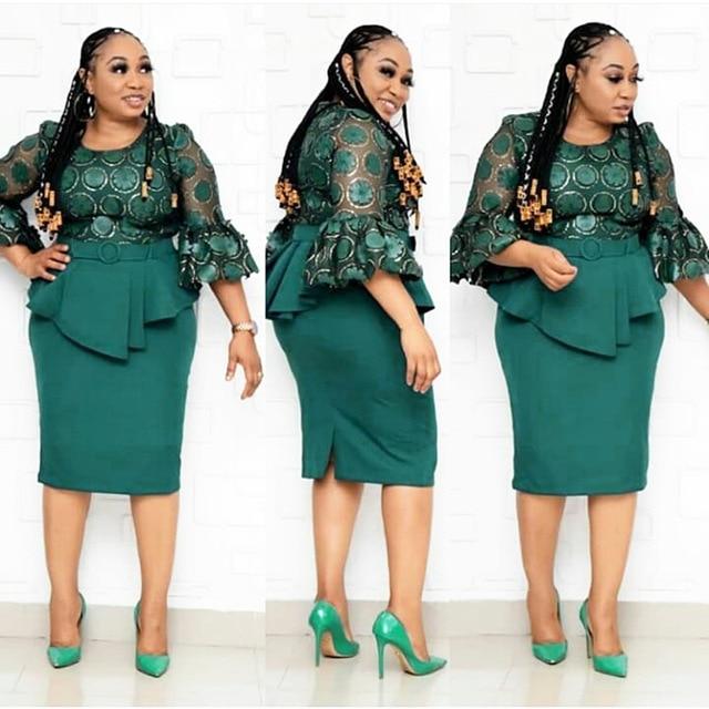 2 חתיכה להגדיר אפריקאי סגנון שמלות לנשים 2020 אפריקה בגדים אלגנטי אנקרה שמלות אופנה אפריקאי שמלה עבור גברת