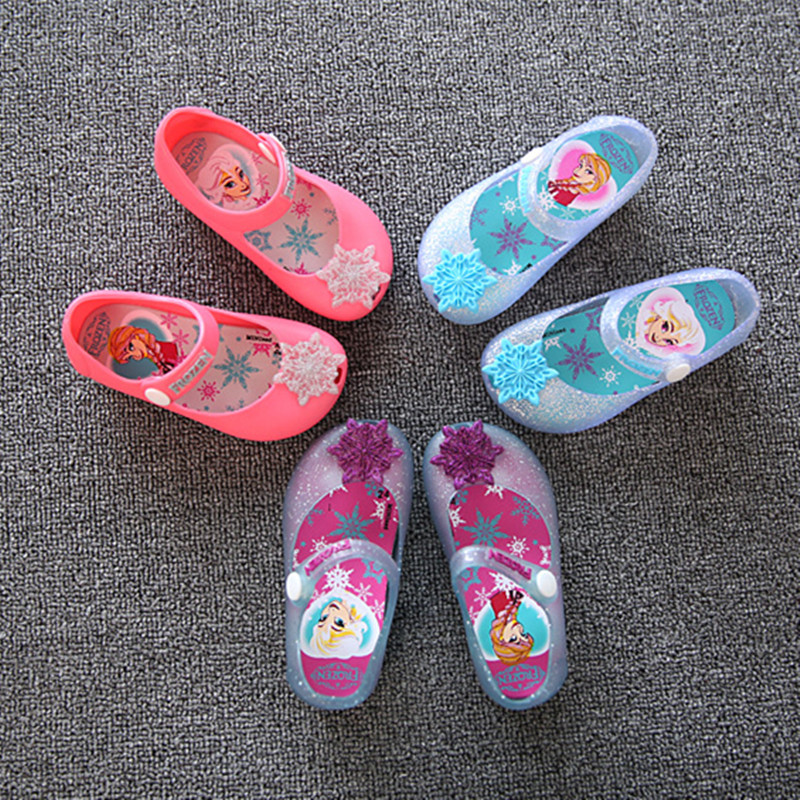 Mini Sed Children's Princess Elsa Jelly Shoes Kids Girl Baby Snow Flake Candy Shoes Silver Summer Baby Sandal Cheaper Shoe MS001