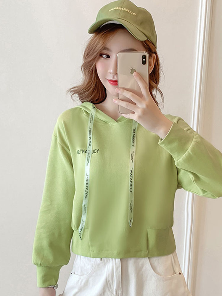Autumn Cropped Hoodies Women 2019 New Korean Edition Long Sleeve Letter Print Hooded Casual Sweatshirt Pullovers Harajuku Tops 90