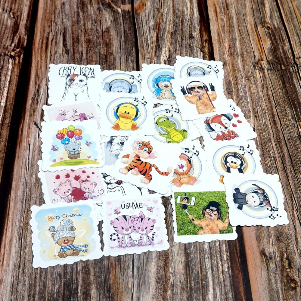 22PCS Cute Tiger Cat Bear Stickers Travel Luggage Phone Guitar Laptop Suitcase Stickers Waterproof Girls Kids Children Stickers