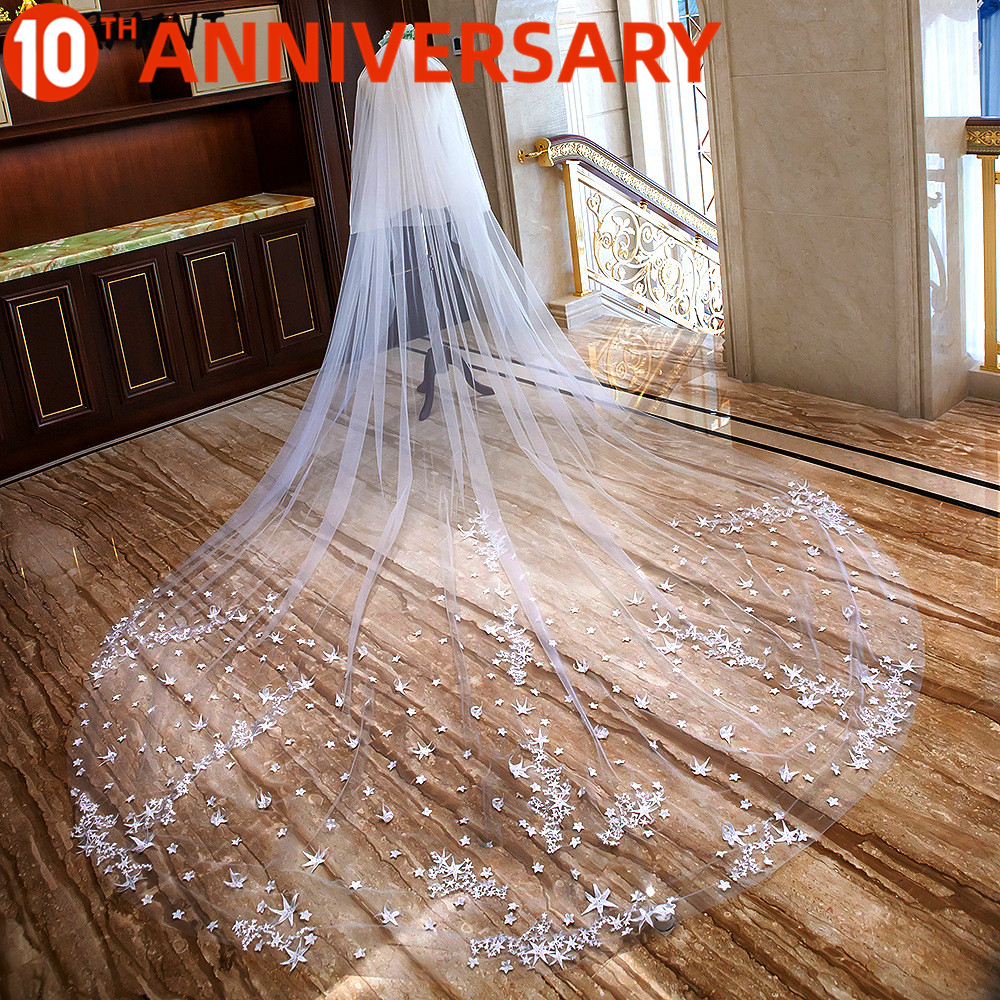 OLLYMURS New Lace Flowers Bridal Veil Classic Cathedral Long Veil One-Layer 400cm Shoulder Length Veil Wedding Accessories