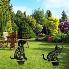 Sculpture Owt Decoration Garden-Decor Lawn Metal Iron Cat-Figure Ground-Insert Dog Holllow