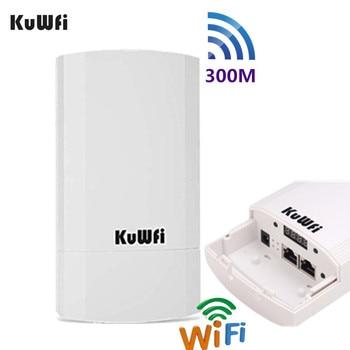 KuWFi Outdoor Wifi Router 300Mbps Wireless Repeater/Wifi Bridge Long Range One 2.4Ghz 1KM Outdoor CPE AP Bridge 24V POE LAN&WAN 300mbps wireless long range outdoor ap wifi bridge cpe 2 4g wi fi ethernet extender access point rj45 lan wan wifi router e110n