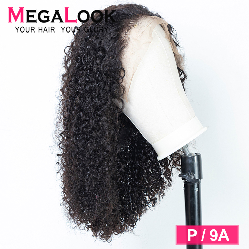 Telephone Curly Human Hair Wigs MEGALOOK Remy Peruvian Wigs Glueless Lace Front Human Hair Wigs For Black Women 13x4 Lace Front