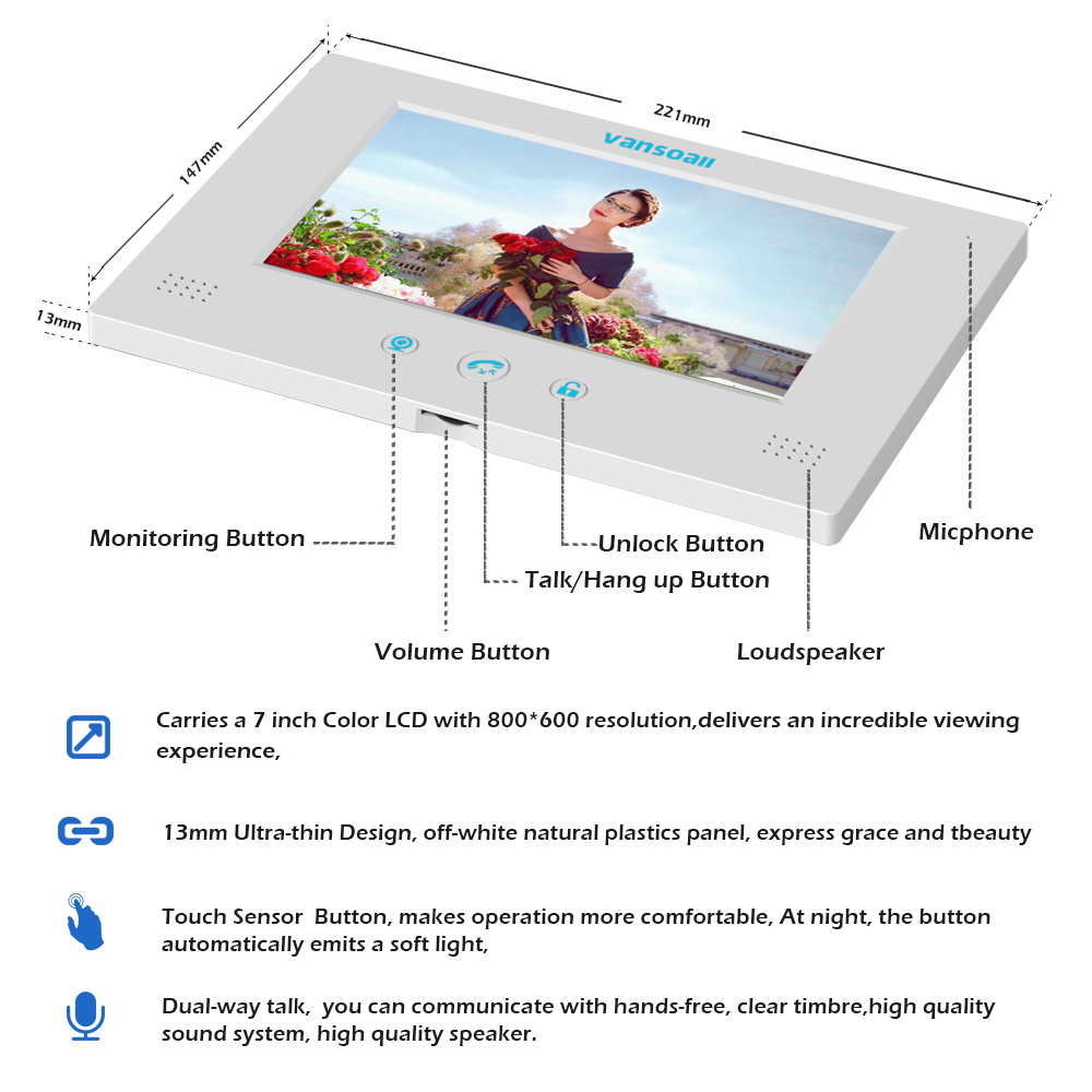 VANSOALL Visuelle Gegensprechanlage Türklingel 7 ''TFT LCD Wired Video Tür Telefon Im Freien IR Kamera System Unterstützung Entsperren mit 30m kabel - 3