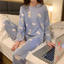 Giraffe-patterned Pajama Sets For Women Spring Autumn Long S