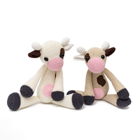 2019 cute 100% mixed hand knitted crochet wool line cow doll. Children's best gift toy accessories (finished products)
