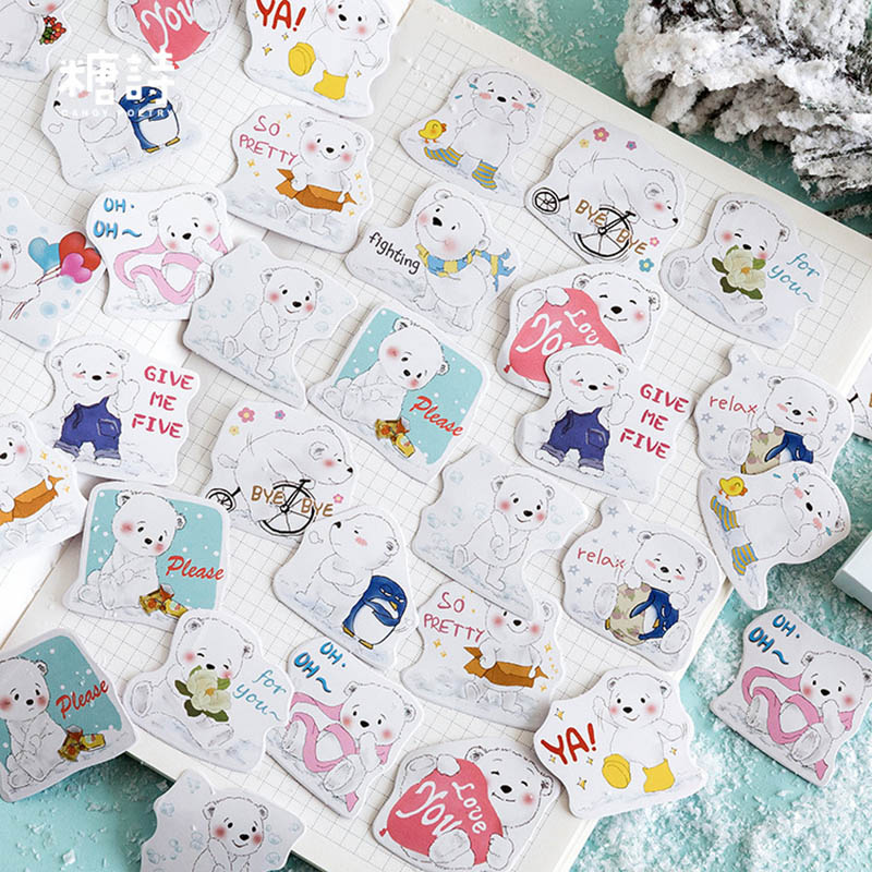 45Pcs Kawaii Polar Bear Decor Stickers Cute Stationery Stickers Japanese Stickers For Kids Girls DIY Scrapbooking Diary Albums