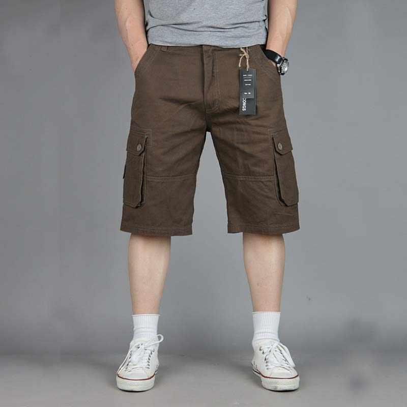 الصيف الرجال السراويل القطن البضائع بواردشورتس مع جيوب كبيرة فضفاض سراويل قصيرة رجالي عادية شورتات للبحر حجم كبير 31-47