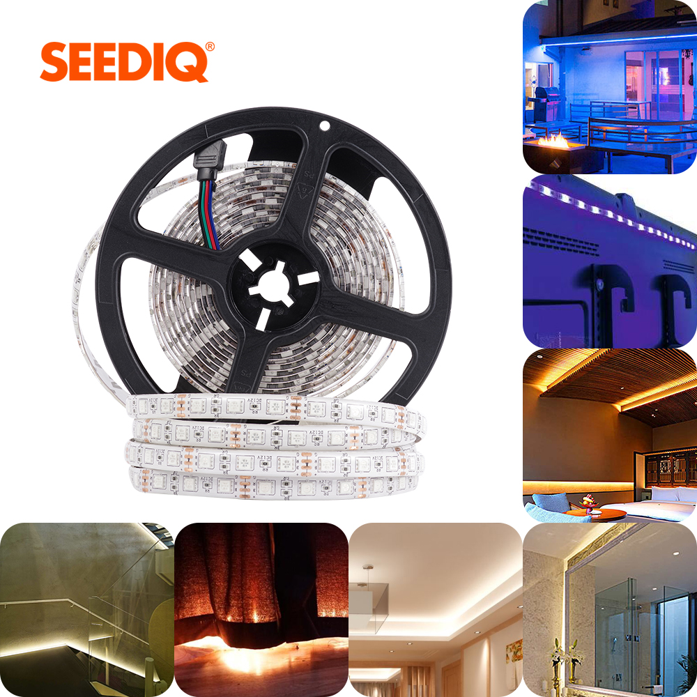 Tira de Led de 5M 12v impermeable 5050 2835 SMD 60 Leds/M tira de led RGB cinta de diodo Flexible tiras de luz led Luces de decoración de la habitación 275nm 310nm Deep UVC LED 32mW 40mW diodo 3535 lámpara abalorios SMD 6V12V24V 4Chips para equipo de desinfección UV 285nm 315nm esteriliza