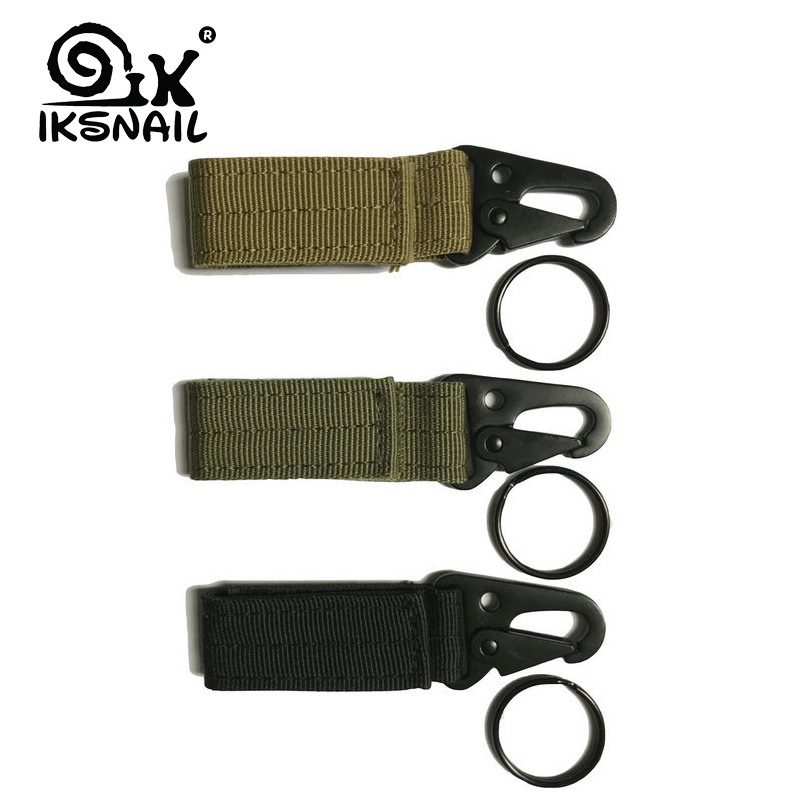 IKSNAIL Climbing Accessory Outdoor Carabiner Strength Nylon Tactical Backpack Key Hook Webbing Hanging Belt Buckle Hanging