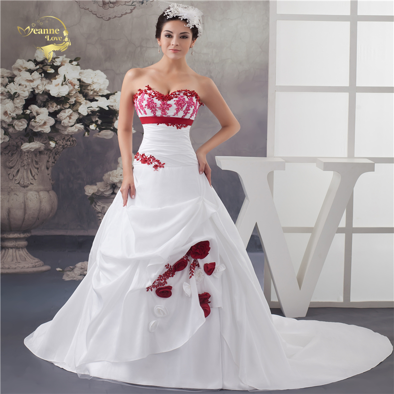 Jeanne Love New Arrival Wedding Dresses 2019 Taffeta A Line Sweetheart Colorful Lace Robe De Mariage Vestido De Novia JLOV75925